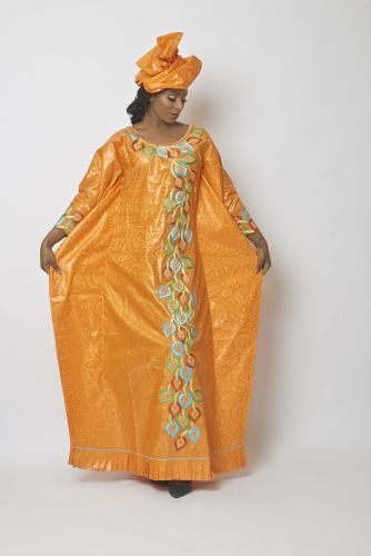 Grand Boubou Femme Orange Bazin De Luxe Bauer Orange