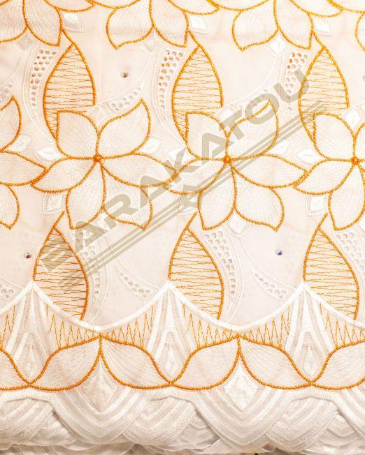132_Brod-Aut_Blanc Motif Orange-01- 220€