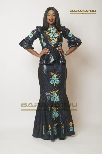 Ensemble Femme, Bazin Bauer de luxe Noir